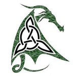 picture of a celtic knot in the shape of a dragon