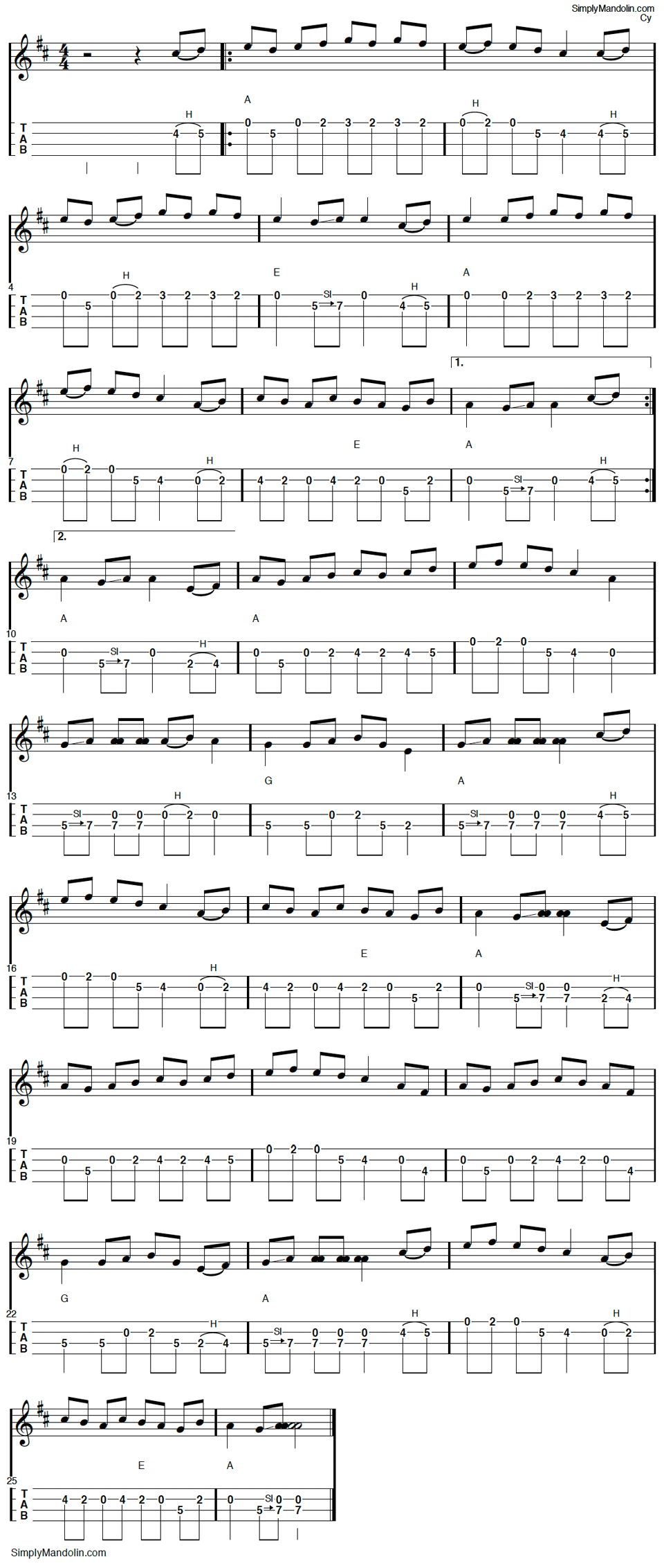 old joe clark mandolin tablature