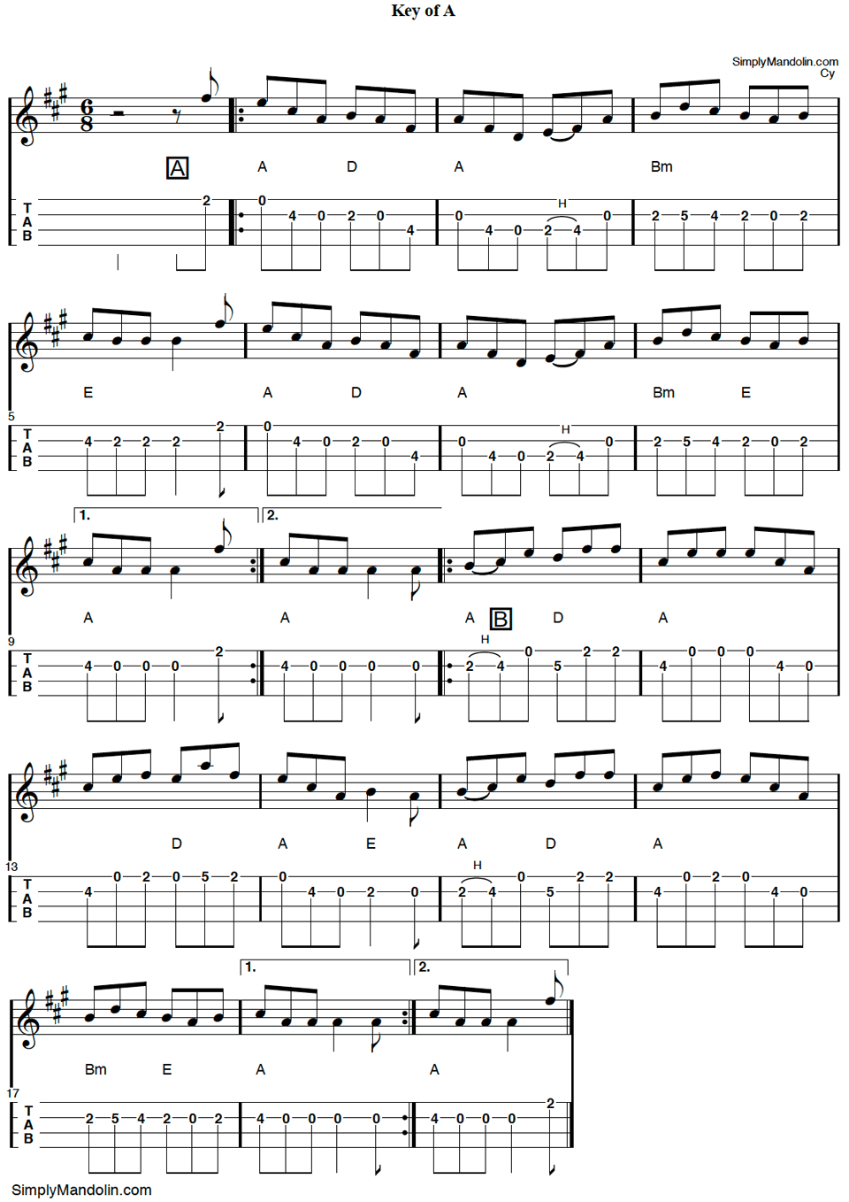 "image of mandolin tab for the Irish tune ""Heart to the Ladies""."