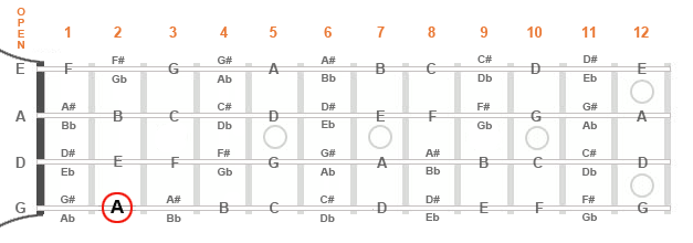 """Diagram of a mandolin fingerboard showing an """"A"""" note at the second fret"""